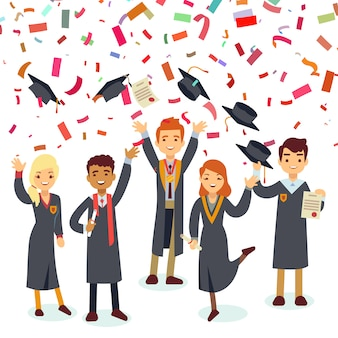Graduados sorridentes e chuva de confetes coloridos