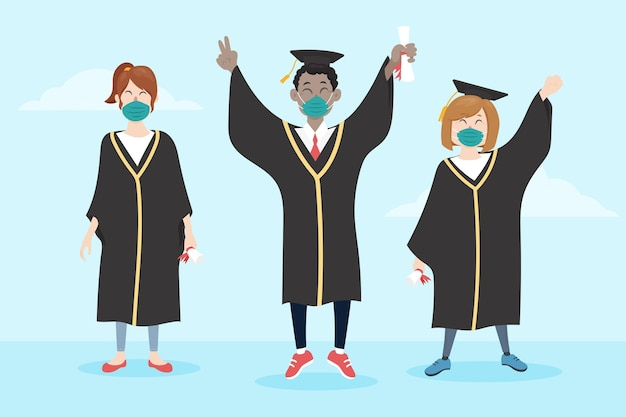 Graduados usando coleção de máscaras médicas