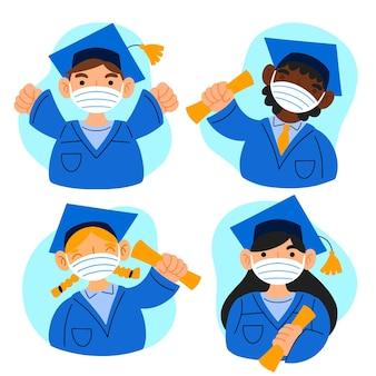 Graduados usando ilustração de máscaras