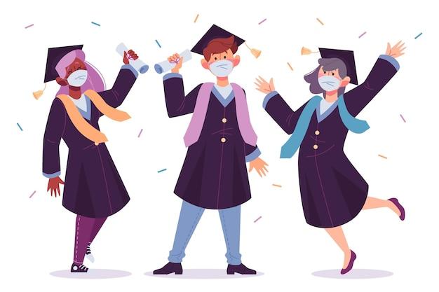 Graduados usando máscara