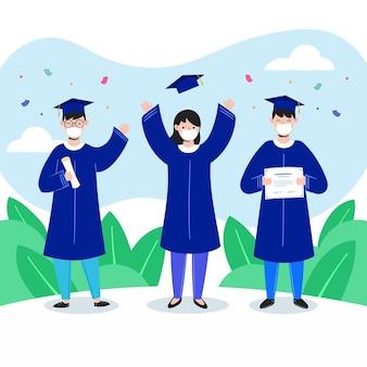 Graduados usando máscaras médicas conjunto