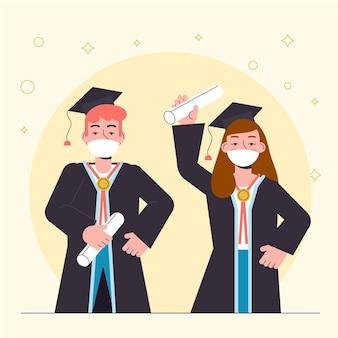 Graduados usando máscaras médicas