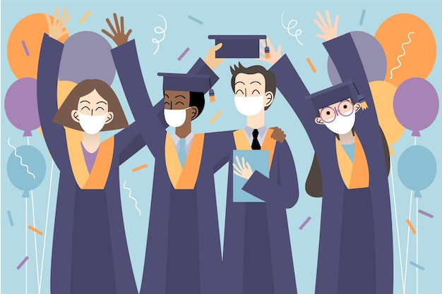 Graduados usando máscaras