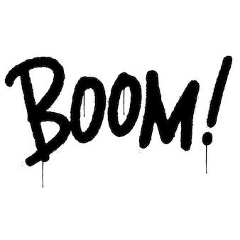 Graffiti boom palavra pulverizada isolada