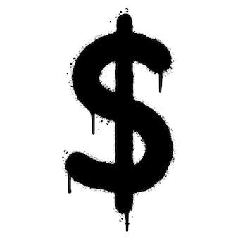 Graffiti dollar $ icon pulverizado isolado no fundo branco. ícone de moeda. ilustração vetorial.