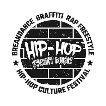 Graffiti em emblema de vetor de parede de tijolo, distintivo, rótulo ou logotipo com música de rua de hip-hop de texto. ilustração do estilo monocromático vintage isolada no fundo branco