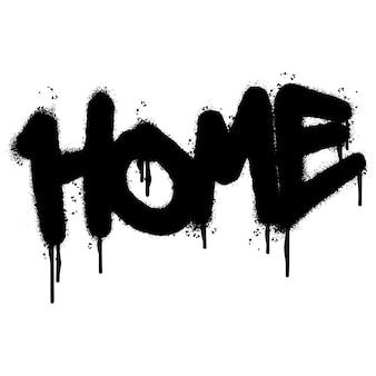 Graffiti home palavra pulverizada isolada no fundo branco. grafite de fonte doméstica pulverizado. ilustração vetorial.