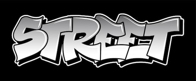 Graffiti inscrição decorativa letras vandalismo arte de rua livre estilo selvagem na ação ilegal urbana da cidade de parede usando tinta spray aerossol. tipo de hip hop subterrâneo. ilustração moderna
