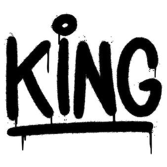 Graffiti king palavra pulverizada isolada no fundo branco. graffiti de fonte king pulverizado. ilustração vetorial.