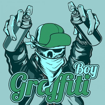 Graffiti, menino, crânio, desgastar, boné, e, bandana, manusear, pintura spray