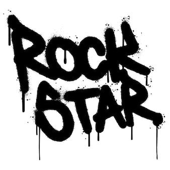 Graffiti rock star word pulverizado isolado no fundo branco. grafite de fonte de estrela de rock pulverizado. ilustração vetorial.