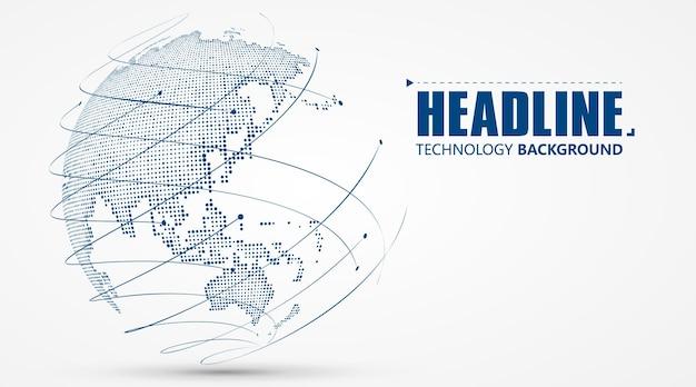 Gráfico 3d da terra que simboliza a ilustração do comércio global. Vetor Premium