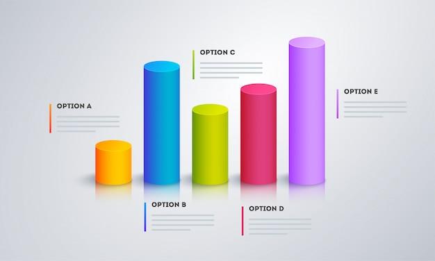 Gráfico 3d infográfico com cinco passos para o modelo de negócios