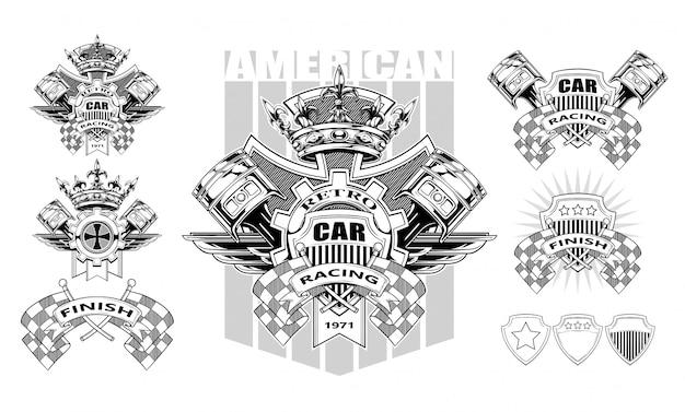 Gráfico brasão de armas com pistões e bandeiras de corrida