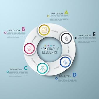 Gráfico circular com elementos sobrepostos brancos, ícones de linha fina e caixas de texto com letras.
