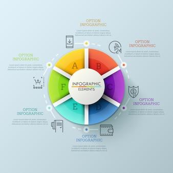 Gráfico circular dividido em 6 partes coloridas e rodeado por ícones de linhas finas e caixas de texto. conceito de serviços prestados pelo varejista na internet.