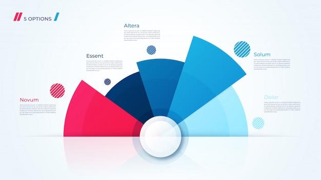 Gráfico circular, modelo moderno para a criação de infográficos, apresentações, relatórios, visualizações