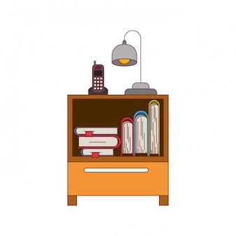 Gráfico colorido de mesa de cabeceira com telefone sem fio e lâmpada e livros de empilhamento com contorno de linha vermelha escura grossa