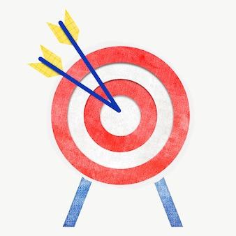 Gráfico colorido de segmentação de mercado com dardo e flecha