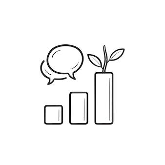 Gráfico com bolhas do discurso e ícone de doodle de contorno desenhado de planta. alcance orgânico, conceito de engajamento do público