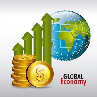 Gráfico da economia global em cinza