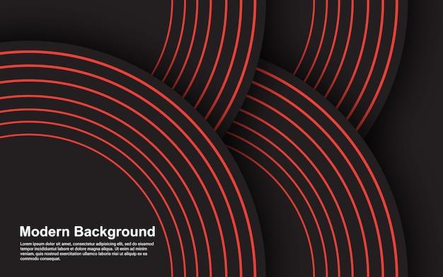 Gráfico da ilustração da cor abstrata do preto do fundo e do design moderno da linha vermelha