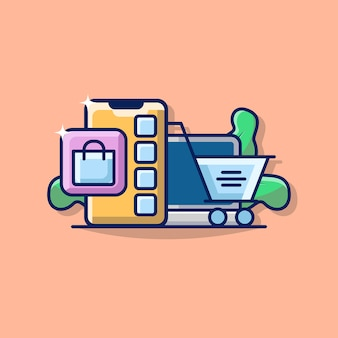 Gráfico da ilustração do negócio e commerce com smartphone, laptop e ícone do carrinho de compras.