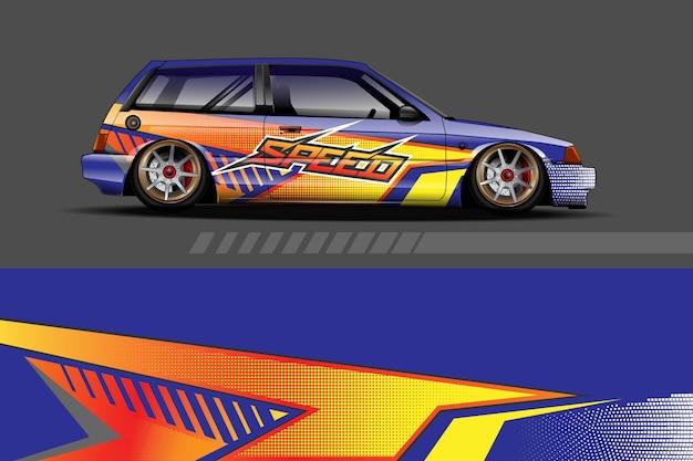 Gráfico da pintura do carro com design de forma de corrida abstrato