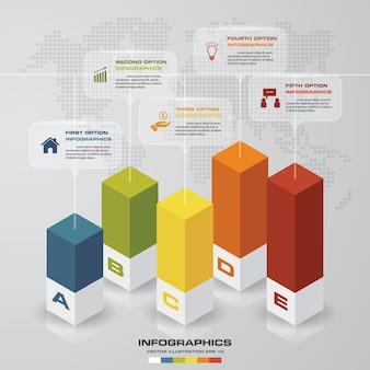 Gráfico de 5 passos elemento infográfico para apresentação.