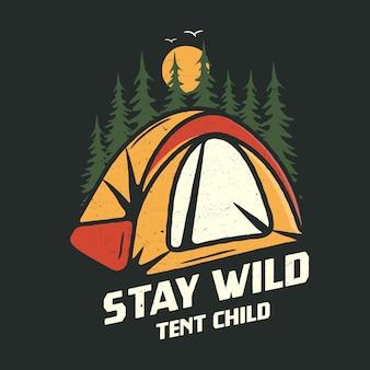 Gráfico de acampamento para camiseta, estampas.