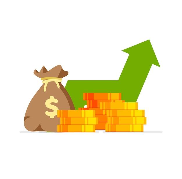 Gráfico de ações de seta para cima lucro monetário conceito de crescimento financeiro com pilha de moedas de ouro