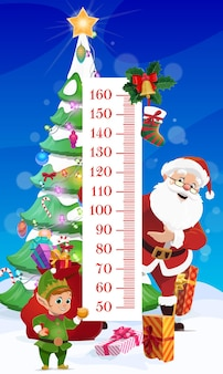Gráfico de altura de crianças. árvore de natal e papai noel medidor de crescimento de adesivo de parede de vetor para medição de altura de crianças com personagens de desenhos animados duende engraçado e papai noel, presentes perto de escala e decoração de natal