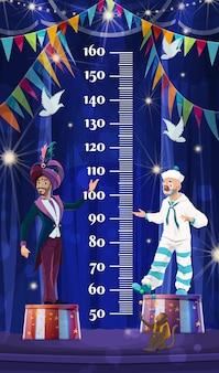 Gráfico de altura de crianças, circo shapito. régua medidor de medida de crescimento