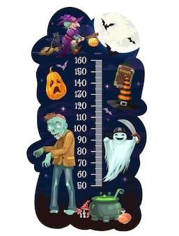 Gráfico de altura de crianças com monstros de desenhos animados de halloween