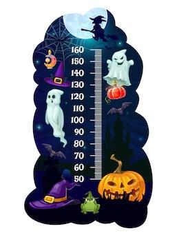 Gráfico de altura de crianças medidor de medida de crescimento de monstros de halloween. adesivo de parede de vetor de desenhos animados com chapéu de mago, fantasmas, bruxa na vassoura e abóbora com morcego ou caldeirão. escala de medição de altura infantil