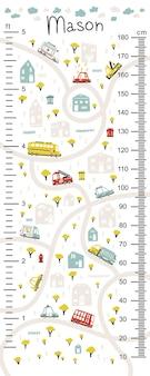 Gráfico de altura infantil com mapas de estradas e carros