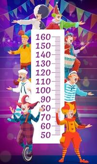Gráfico de altura infantil com palhaços de circo Vetor Premium