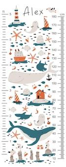 Gráfico de altura marinha para crianças