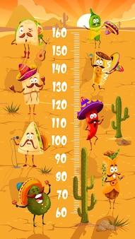 Gráfico de altura para crianças com fast food mexicano de desenho animado