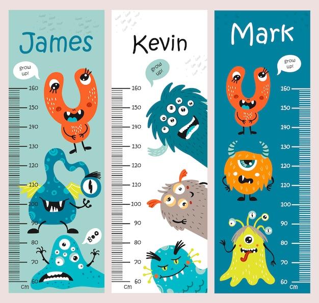 Gráfico de altura para crianças com monstros