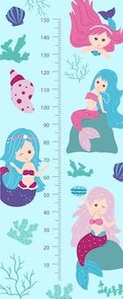 Gráfico de altura para crianças com pequenas sereias. parede de medidor infantil para design de berçário. ilustração vetorial, estilo cartoon