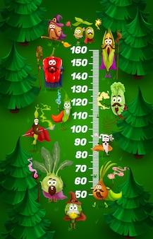 Gráfico de altura para crianças com vegetais bruxos de desenho animado