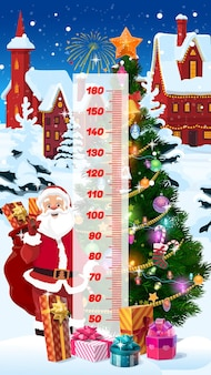 Gráfico de altura para crianças, desenho animado de natal, presentes do papai noel