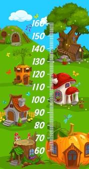 Gráfico de altura para crianças, duende gnomo, casas de desenho animado