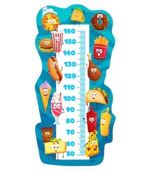 Gráfico de altura para crianças, personagens de desenhos animados de fast food