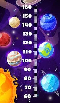 Gráfico de altura para crianças, planetas espaciais de galáxias de desenho animado