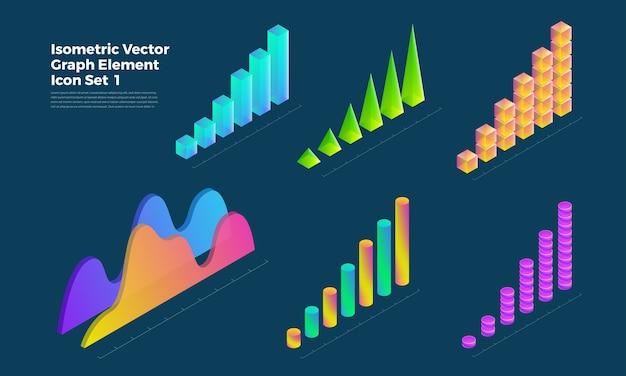 Gráfico de apresentação de elementos de conjunto de infográfico de objeto gráfico