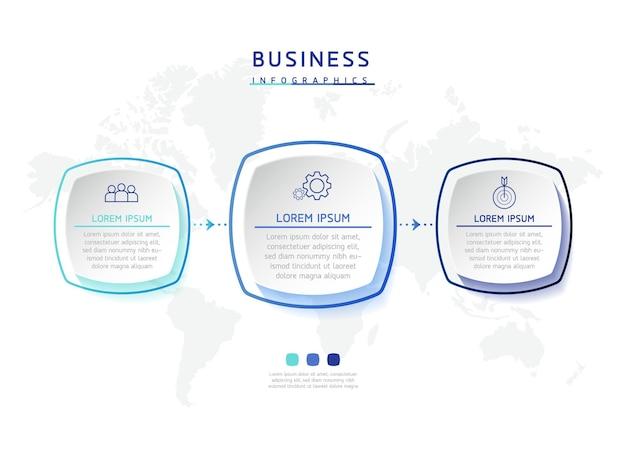 Gráfico de apresentação de informações de negócios de modelo de design de ilustração vetorial com 3 opções ou etapas