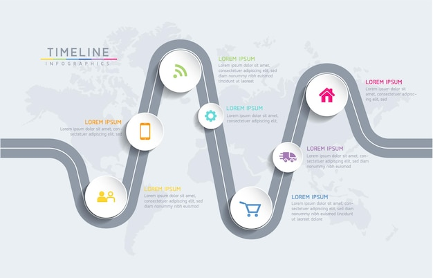 Gráfico de apresentação de informações de negócios de modelo de design de infográficos com 7 opções ou etapas