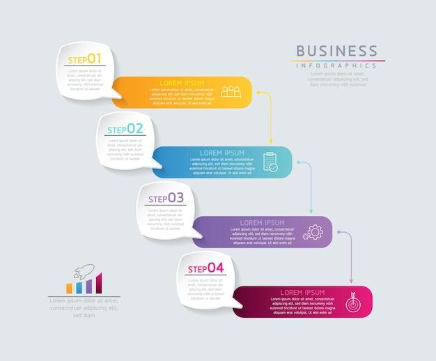 Gráfico de apresentação de informações de negócios de modelo de design de infográficos de ilustração vetorial com 4 opções ou etapas